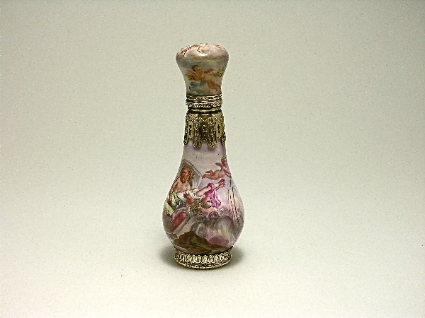 22: 1870s Enamel Scent Bottle With Gilt Silver Mounts