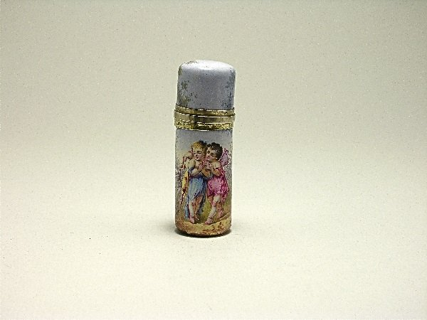 24: c.1850 French Enamel Silver Scent Bottle w/Fairy