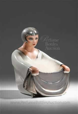 Unusual French Art Deco Porcelain Powder Box
