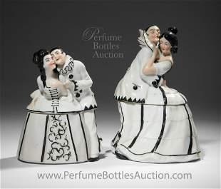 1920s French porcelain Pierrot & Columbine powder boxes