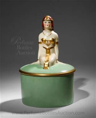 1925 Fulper porcelain Egyptian figure powder box