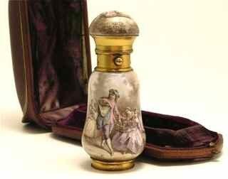 5: 18th c. Watteau Enamel Vinegarette Scent Bottle