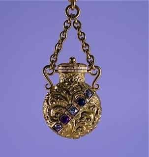 17: 1890s Chatelaine Perfume Bottle 14K Gem Stones