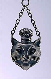 21: c1900 Chinese Silver Cat in Hat Scent Bottle