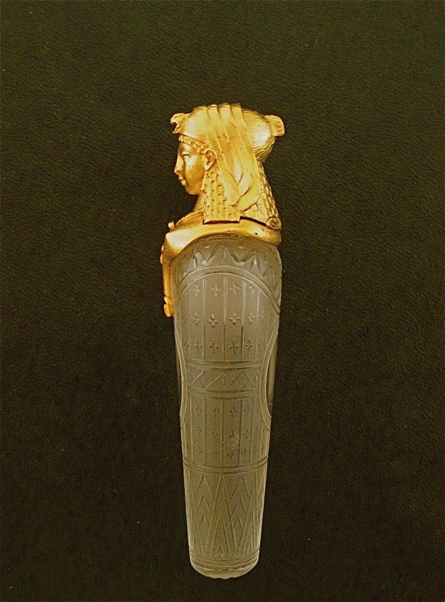 14: 1860s Baccarat - 18kt Egyptian Scent Bottle