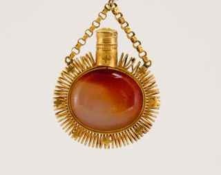 17: 1700s Gold and Carnelian Chatelaine Bottle