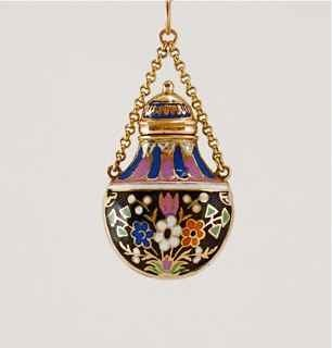 18: c1800s European Enameled Gold Scent Bottle