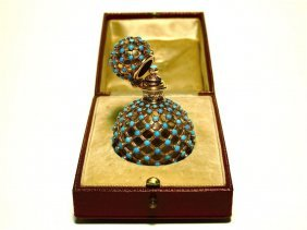 19th C. French 18K Turquoise Jeweled Bottle