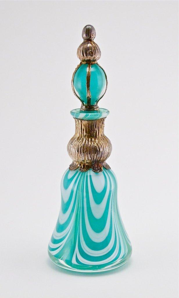 33: 1983 Silver Mount Nailsea Glass Perfume Bottle