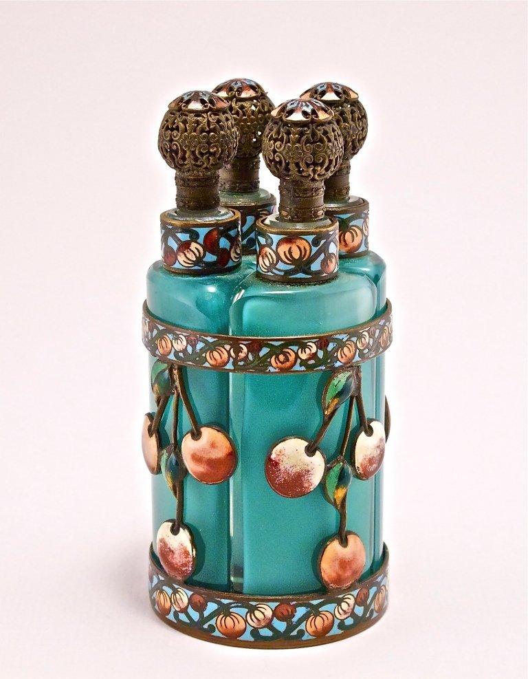 37: 1920s Fr. 4-Bottle Enameled Perfume Tantalus