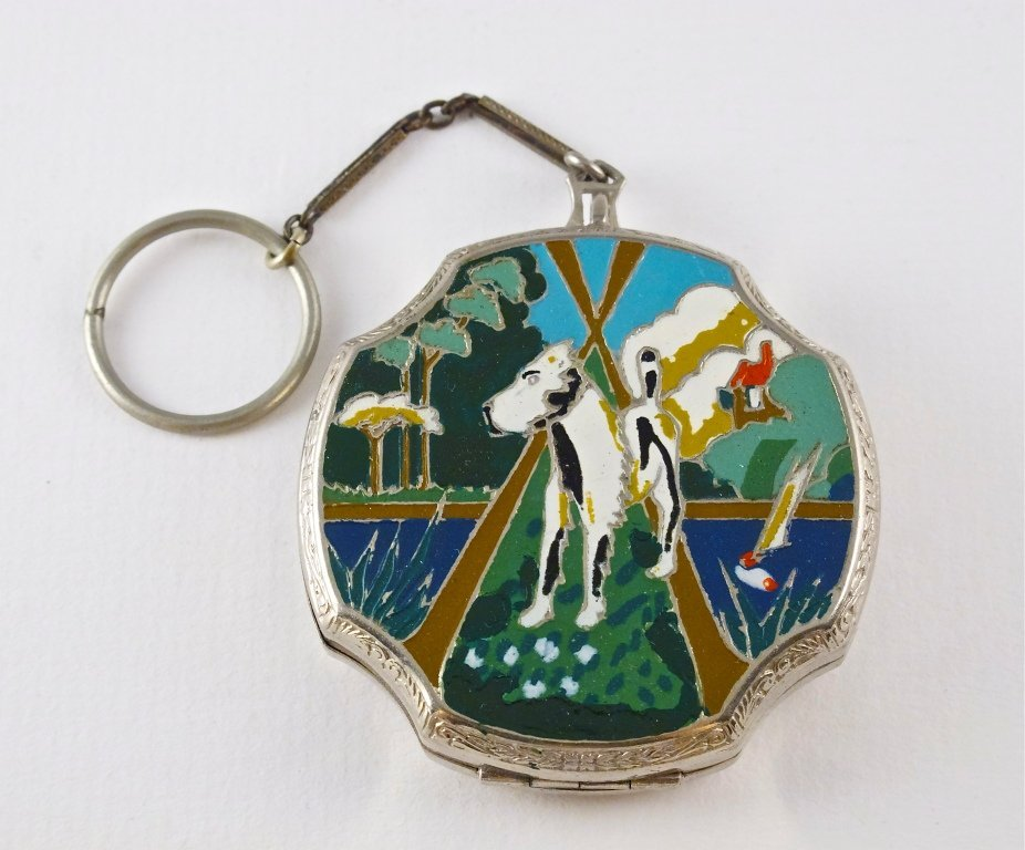 """41: 1920s J.M. Fisher """"The Mutt"""" Enamel Compact"""