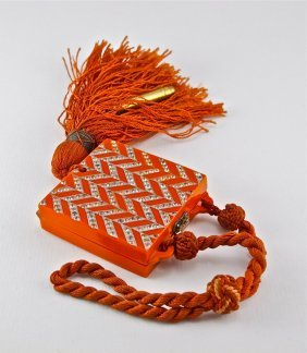 1920s Deco Red Celluloid Compact-Dance Purse