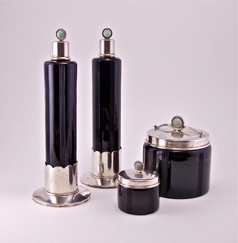 48: 1930s Deco Silver and Jade 10-piece Vanity Set
