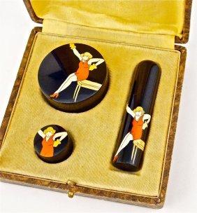 1920s Deco Celluloid 3-Pc Make-up Purse Set