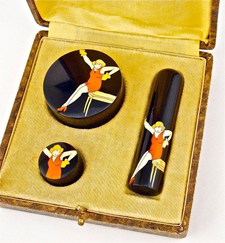 51: 1920s Deco Celluloid 3-Pc Make-up Purse Set