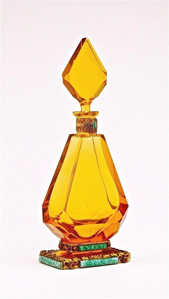 55: 1920s Czech Jeweled Crystal Perfume Bottle