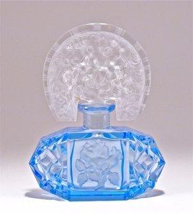 C1930 Czech Blue Crystal Perfume Bottle
