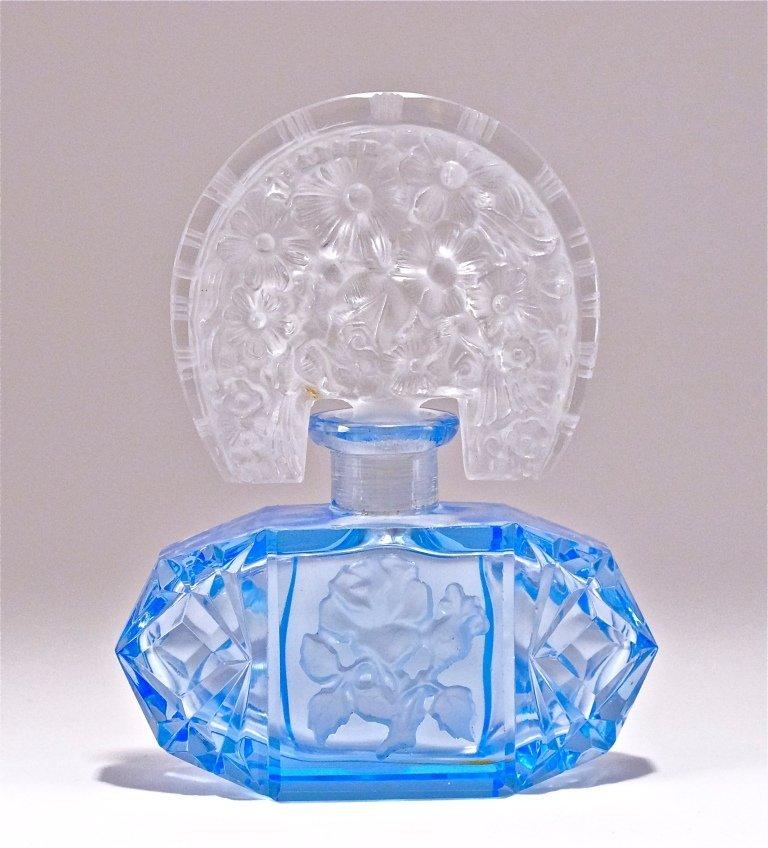 57: c1930 Czech Blue Crystal Perfume Bottle