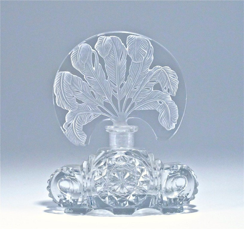 65: c1930 Czech Intaglio Crystal Perfume Bottle