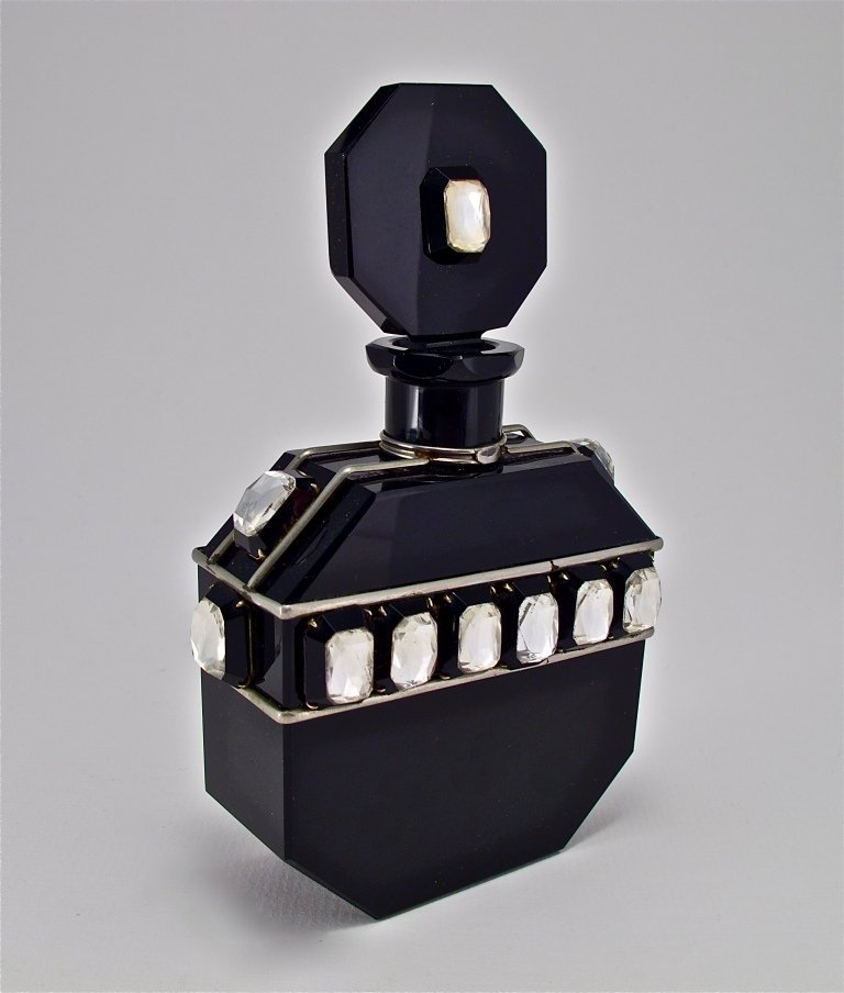 67: 1920s Hoffmann Jeweled Black Czech Bottle