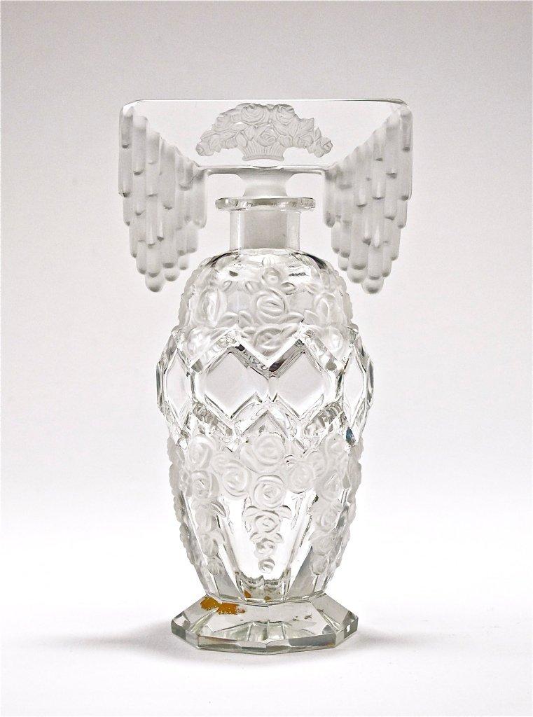 69: c1930 Czech Crystal Tiara Stopper Perfume Bottle