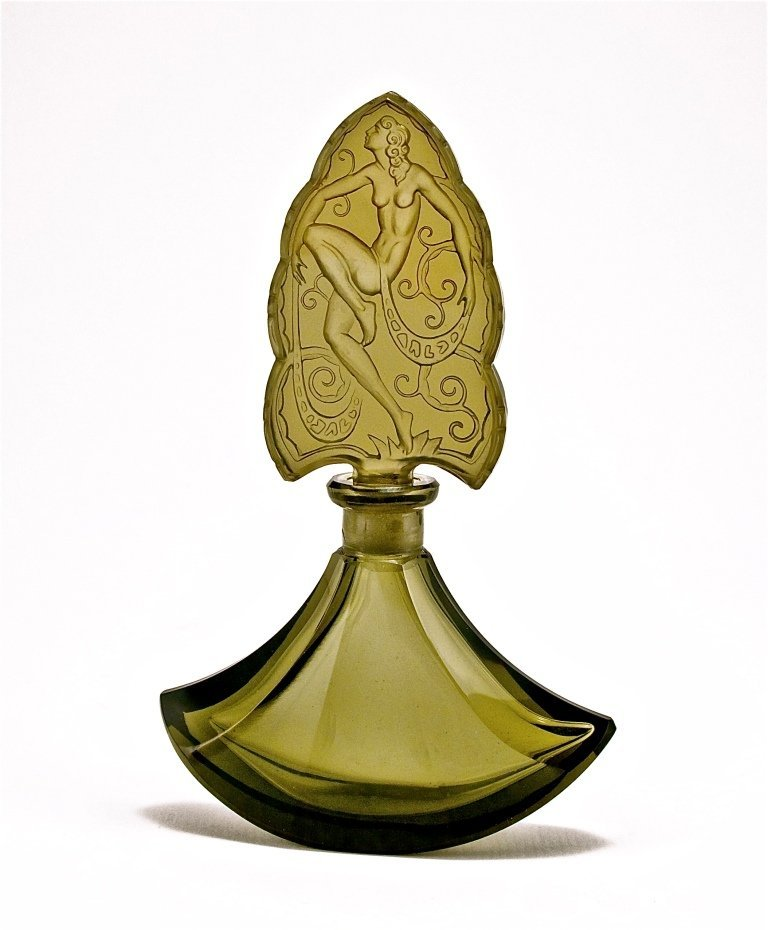 70: c1930 Czech Grey Crystal Perfume Bottle