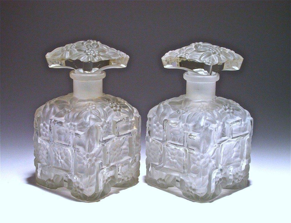 72: 1930s Hoffmann Frost Crystal Czech Bottles