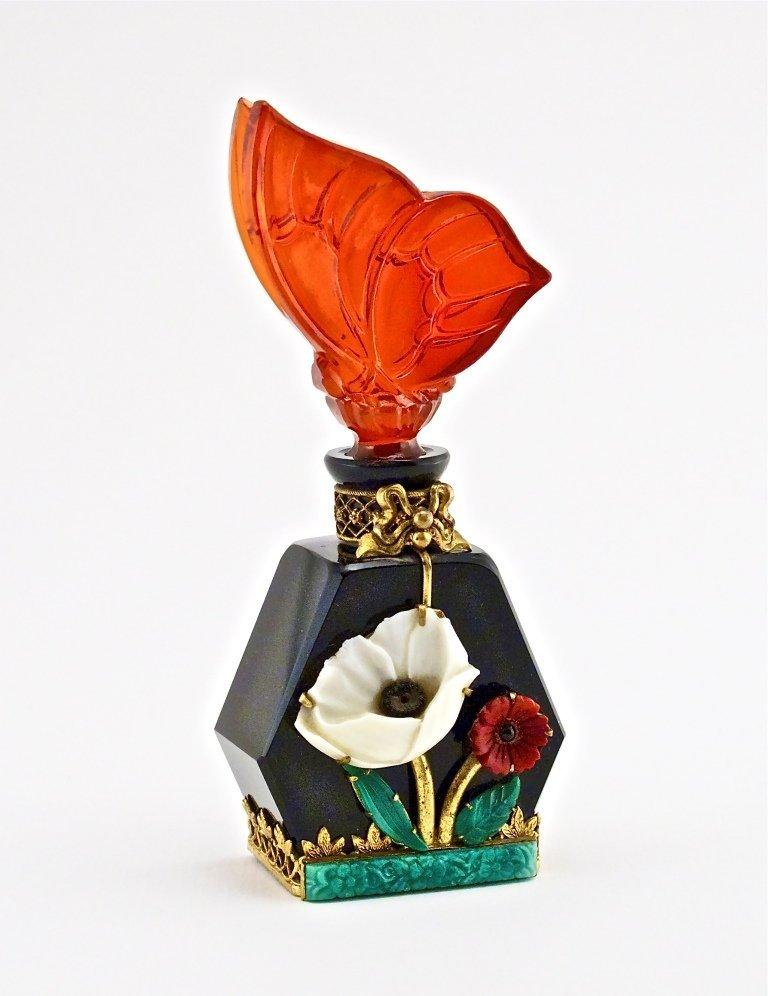 73: c1930 Czech Jeweled Black Crystal Bottle
