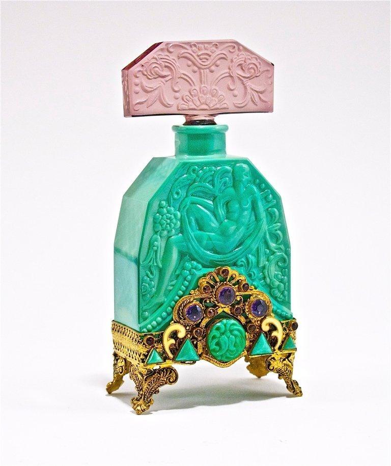 77: 1920s Hoffmann Jeweled Malachite Czech Bottle