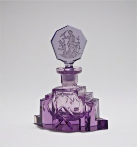 C1930 Czech Amethyst Crystal Perfume Bottle
