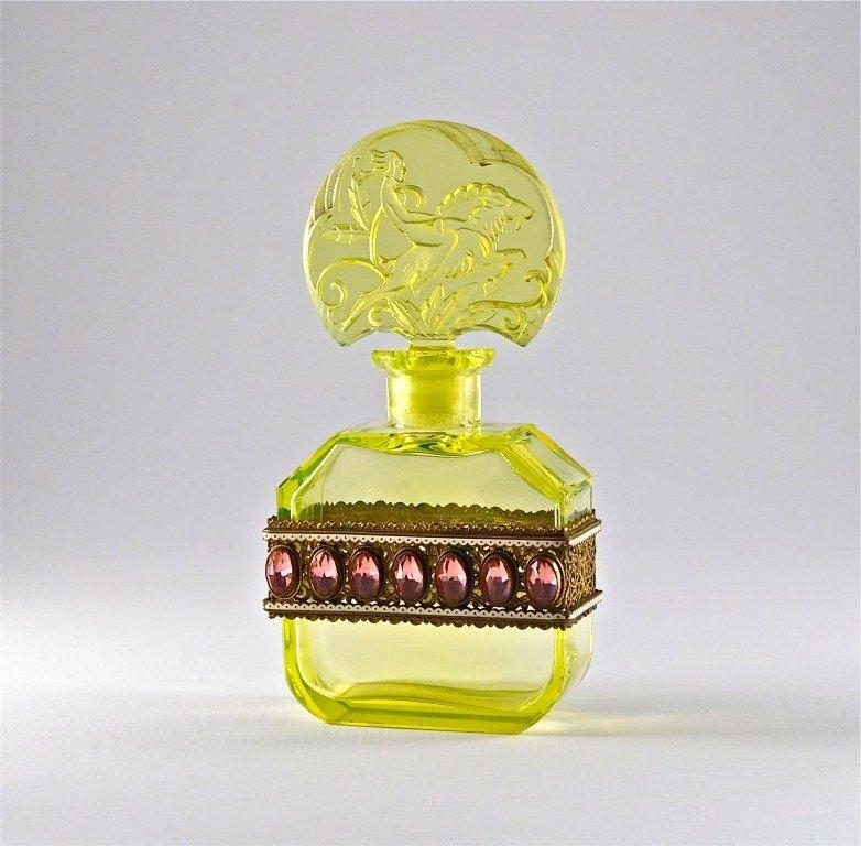 79: 1920s Hoffmann Jeweled Vaseline Czech Bottle