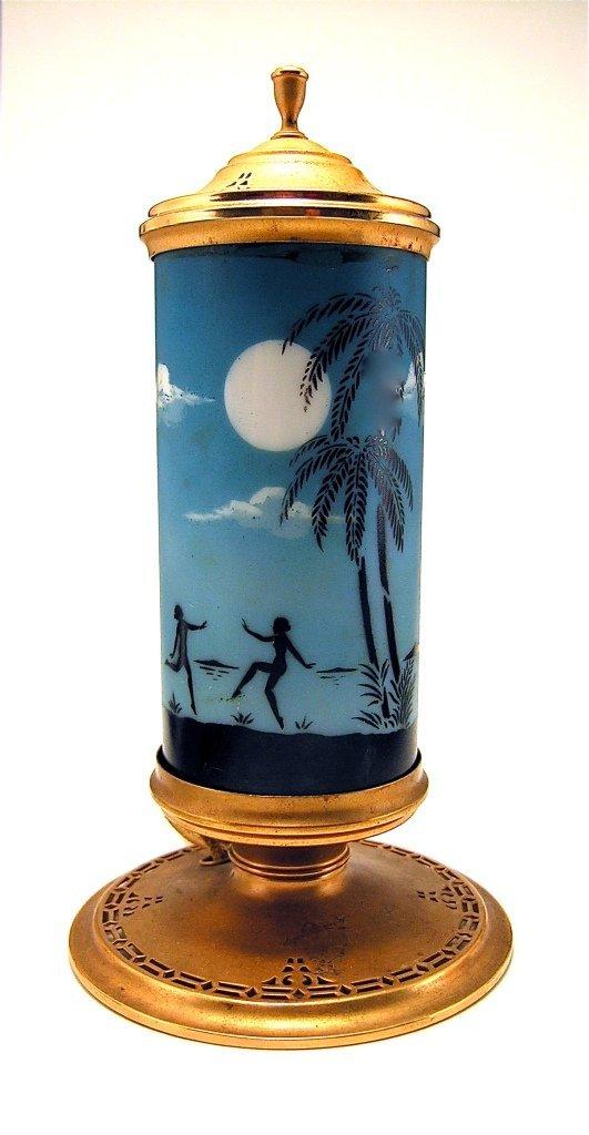 96: 1924 DeVilbiss Glass and Metal Perfume Lamp