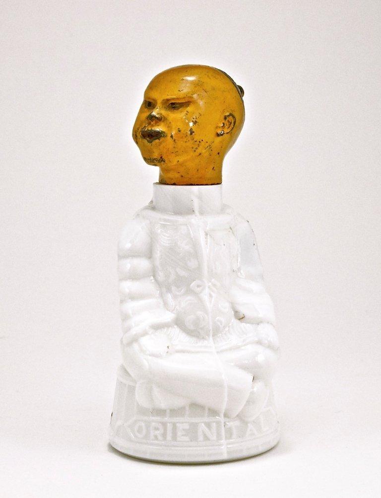 """127: 1890s """"Oriental"""" White Glass Figural Atomizer"""