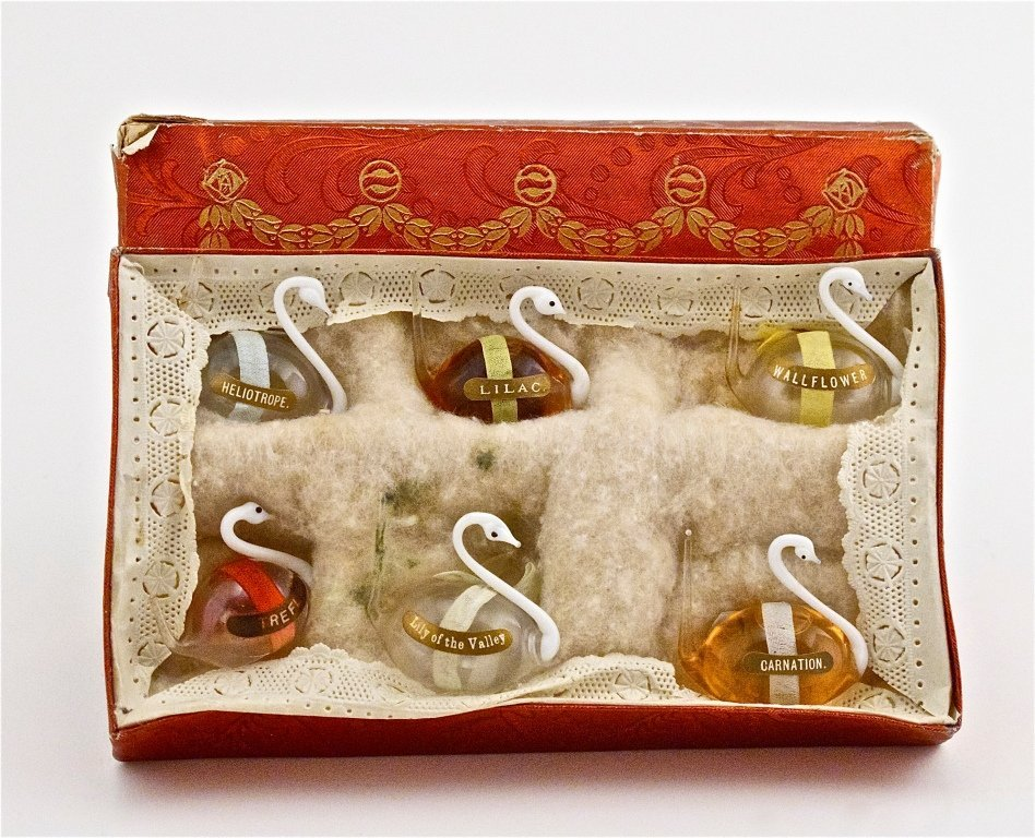 132: 1920s Bohemian Set of 6 Floral Scent Bottles
