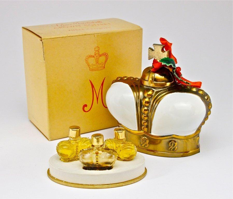 "141: 1943 Matchabelli ""Crown""3 Mini Perfume Bottles"