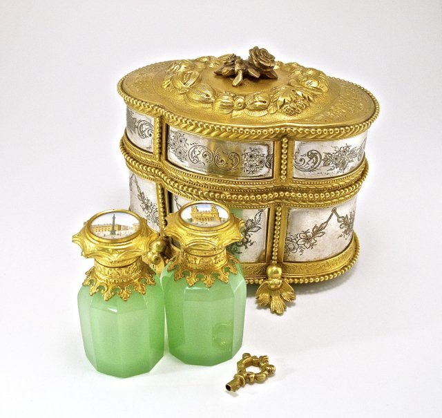 c1850 Palais Royal perfume chest, hand tooled silver, g