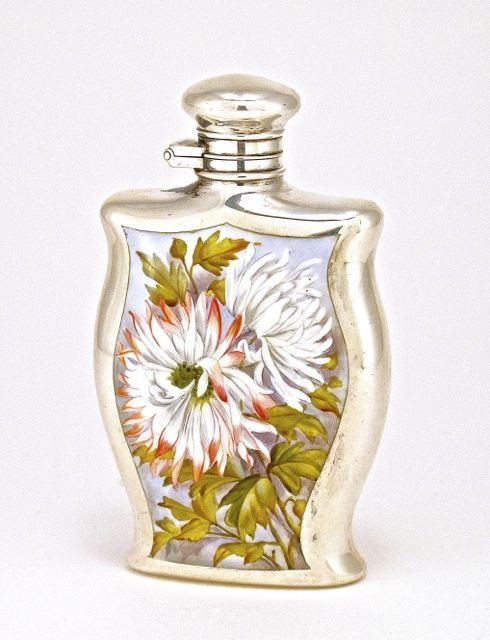 1880's English perfume bottle, enameled sterling silver