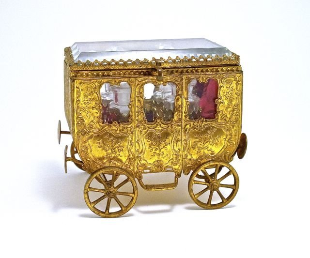 c1880 French perfume chest as a gilt metal carriage, g