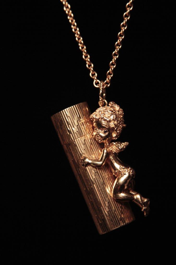 1950s Ruser 14K gold perfume bottle pendant