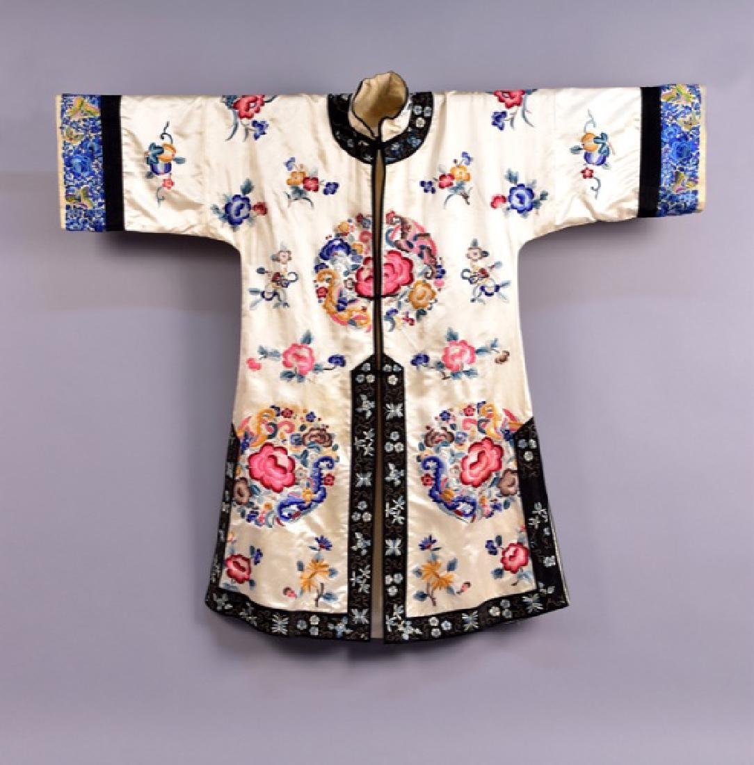 CHINESE SILK EMBROIDERED SURCOAT, MID 20th C.