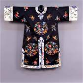 CHINESE SILK EMBROIDERED SURCOAT MID 20th C