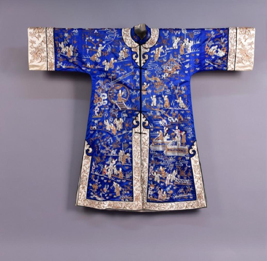 CHINESE SILK and METALLIC EMBROIDERED SURCOAT, MID 20th