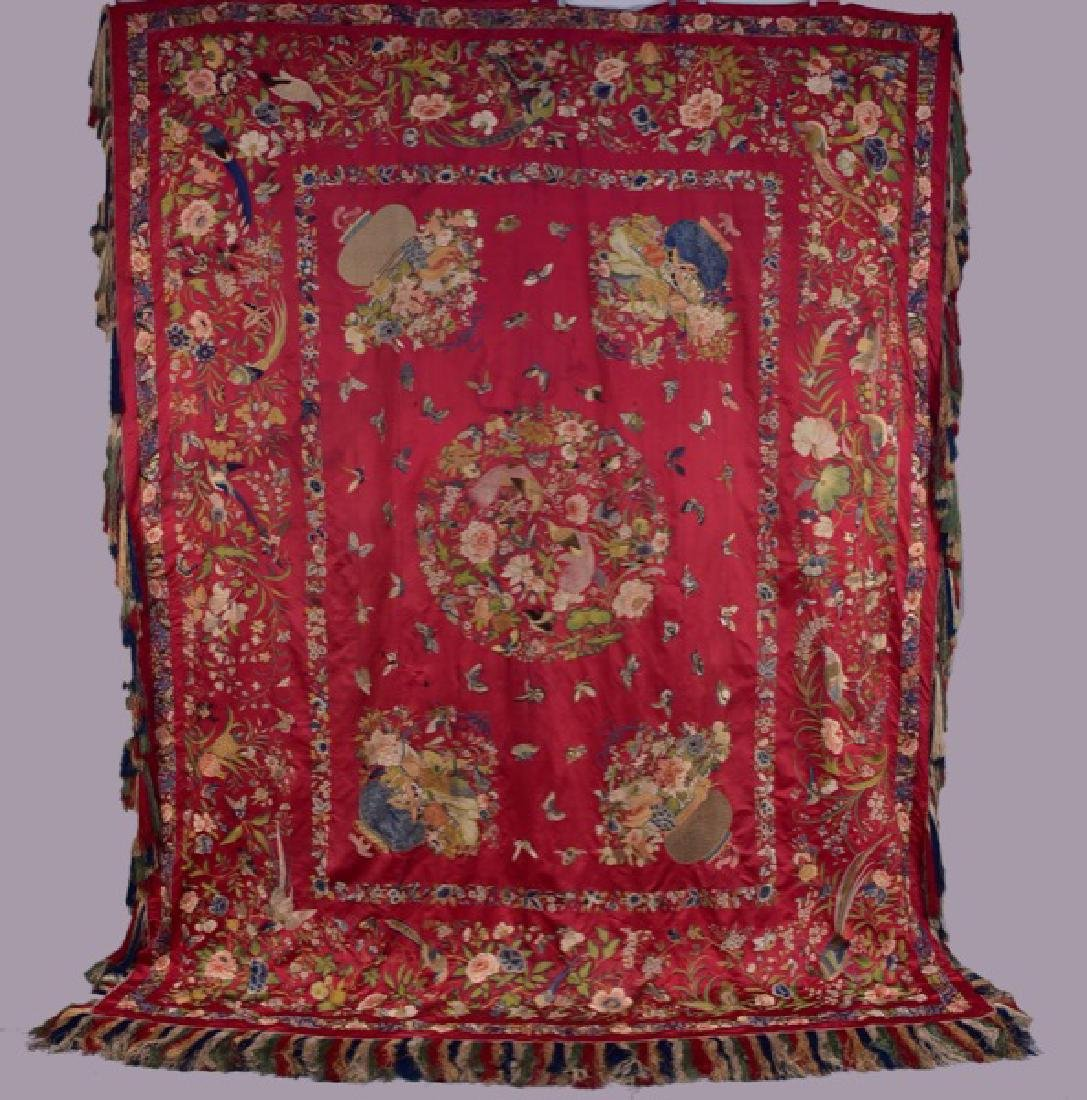 CHINESE EMBROIDERED BED COVERLET, EARLY - MID 19th C