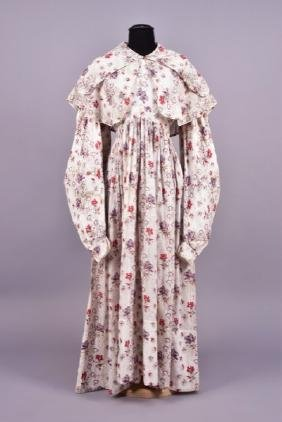 PRINTED WHITE COTTON DAY DRESS and PELERINE, 1830s