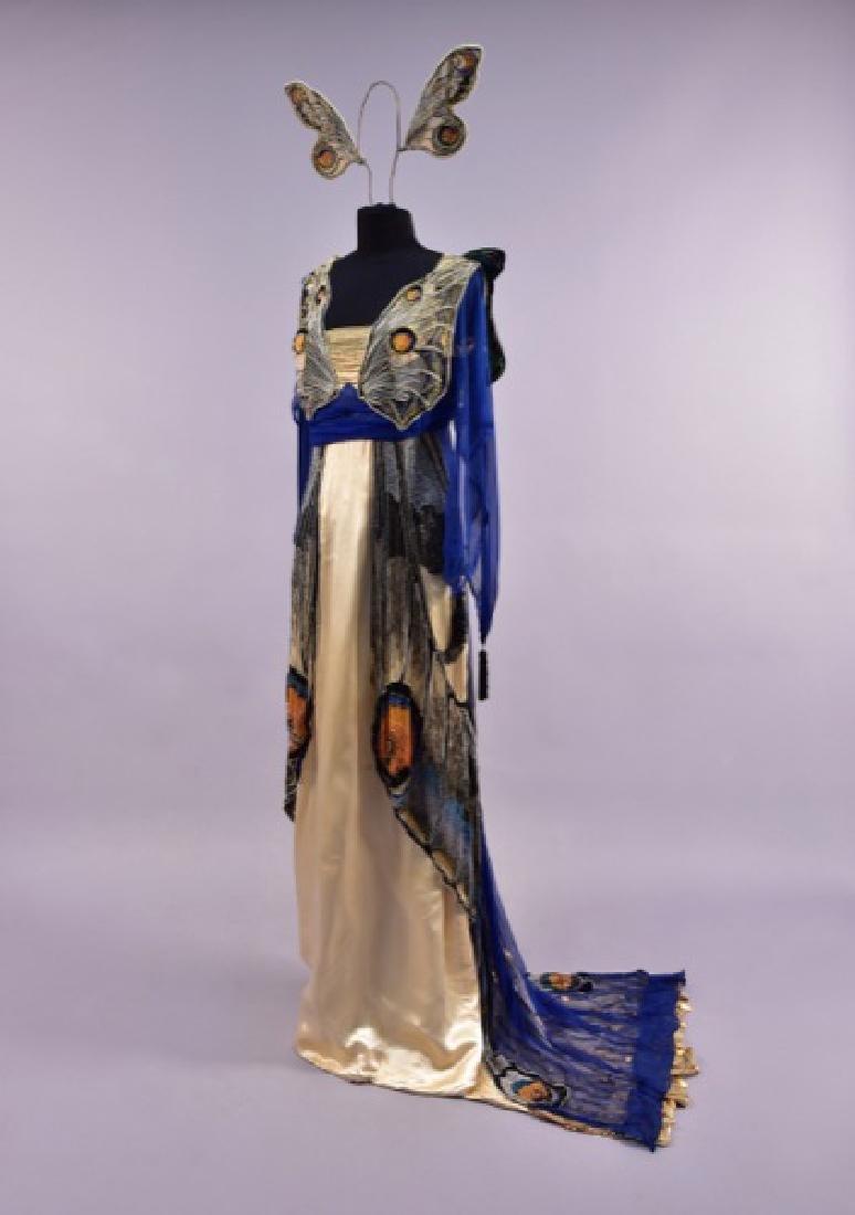 WORTH BEADED BUTTERFLY FANCY DRESS GOWN, c. 1912.
