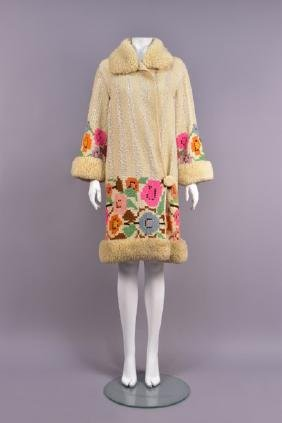 UNUSUAL FRENCH WOVEN WOOL and SILK COAT, 1920s