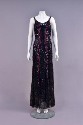 RARE CHANEL COUTURE SEQUINED EVENING GOWN, 1930s
