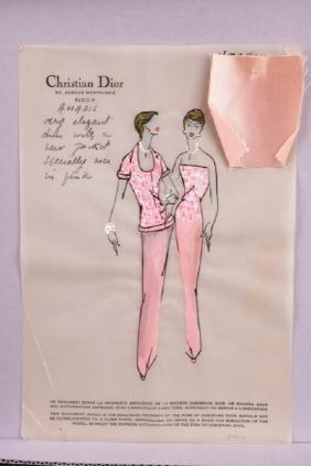 Christian Dior Original Fashion Illustration, 1954