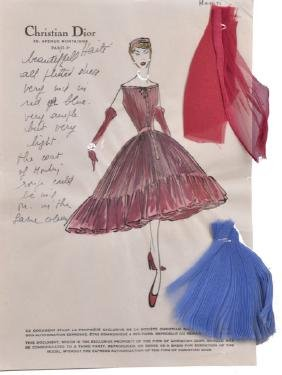 CHRISTIAN DIOR ORIGINAL FASHION ILLUSTRATION, 1954.