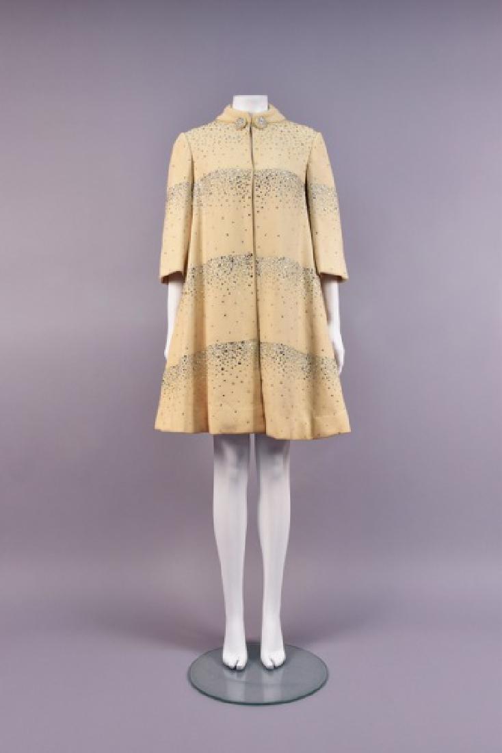 PAULINE TRIGERE RHINESTONE-STUDDED SWING COAT, 1950s